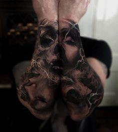 Skull & Portrait Sleeves  http://tattooideas247.com/skull-portrait-sleeves/