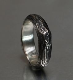 Men's Willow twig ring, sterling silver, 6mm, your size. $178.00, via Etsy.