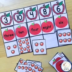 Numbers 1-10: Apple themed math centers and worksheets.
