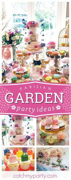 Don't miss this stunning Parisian Garden birthday party! The floral cupcakes are wonderful!! See more party ideas and share yours at CatchMyParty.com #partyideas #garden #paris #french #floral