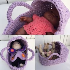 Hæklet Dukkelift - www.walbomcreations.dk Crochet Toys, Crochet Baby, Baby Born, Drops Design, Baby Knitting Patterns, Merino Wool Blanket, Bassinet, Diy And Crafts, Dolls