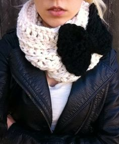 Black Crochet Cowl with Pink Bow- infinity scarf- crochet bow neck warmer. $29.99, via Etsy.