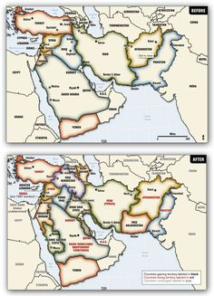 "Before and after maps from ""Blood Borders: How a Better Middle East Would Look"", by Ralph Peters, in the Armed Forces Journal (June 2006)"