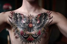 traditional mens chest tattoos - Google Search