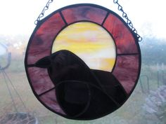 Crow Raven Wicca Pagan Witchy Stained Glass by PerizadCreations