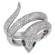 Effy Jewelry Jardin Critters Diamond & Emerald Snake Ring, 1.04 TCW ($2,750) ❤ liked on Polyvore featuring jewelry, rings, accessories, coiled snake ring, emerald jewellery, snake jewelry, diamond jewelry and emerald rings
