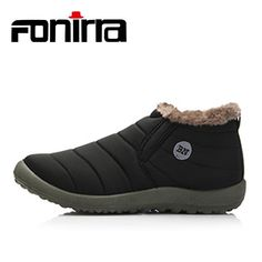 8a767d8c96 FONIRRA Men Snow Boots Solid Color Warming Fabric Slip-on Ankle Boots for  Male Winter