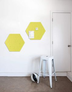 Hexagon Pinboard, Small in Yellow Whiteboard, Wall Spaces, All Design, Fiber, Decals, Kids Rugs, Strong, Shapes, Texture