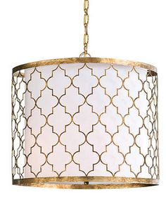 Morrocan style light fixture.  Gold, white.   Antique gold leaf silhouettes a stunning mosaic pattern in Regina-Andrew Design's Moroccan-inspired, cut iron pendant ($899).