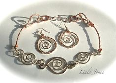 'Spirals' Necklace set with twisted wire - Celtic inspired