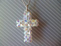 Colgante cruz tupis Swarovski crystal ab 2x con rocallas plata - 2