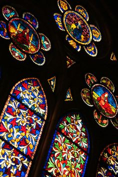 Stained glass in Cathedral of Leon. Spain
