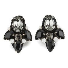 Matthew Williamson Opulent Jewelled Cluster Earrings - Black (295 SAR) ❤ liked on Polyvore featuring jewelry, earrings, accessories, boho jewelry, crystal clip on earrings, crystal jewelry, antique crystal earrings and bohemian earrings