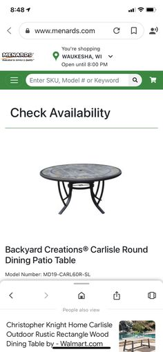 Patio Table, Dining Table, Backyard Creations, Patio Sets, Round Dining, Outdoor Furniture, Outdoor Decor, Rustic, Wood