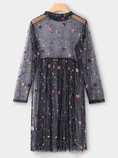 Black Mesh Floral Embroidered Midi Dress