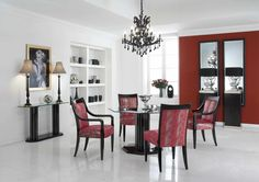 modern white and red dining room theme with built cabinets also cool bronze chandelier over pedestal table sets interior home designs
