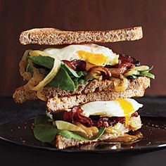 Bacon and Egg Sandwiches with Caramelized Onions and Arugula | CookingLight.com #myplate #protein #vegetables