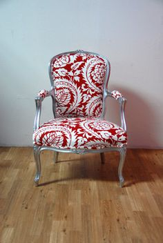 Antique Oversized Silver Louis Red Damask Arm Chair by metrosofa, $799.00