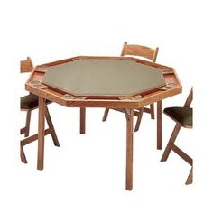 "Kestell Furniture 57"" Contemporary Folding Poker Table Finish: Natural, Upholstery: Black Vinyl"