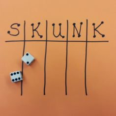 Yes...I said SKUNK... My kids love to play this fun game. The only materials needed a pair of dice for the teacher and a sheet of paper for each student. Oh, and an overhead projector is helpful too. Begin by having each student draw a game board on their own sheet of scrap paper like the one pictured below. I usually have students fold the paper hot dog and then hamburger style. Once folded, open the paper back up and draw a game board in each section that was created by the folds. This cr