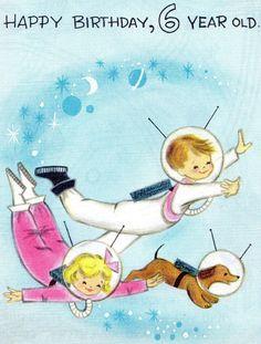 Vintage birthday card - astronaut children and dog