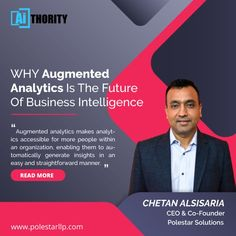 𝗪𝗵𝗮𝘁'𝘀 𝘁𝗵𝗲 𝗳𝘂𝘁𝘂𝗿𝗲 𝗼𝗳 𝗔𝘂𝗴𝗺𝗲𝗻𝘁𝗲𝗱 𝗔𝗻𝗮𝗹𝘆𝘁𝗶𝗰𝘀? Here's Chetan Alsisaria CEO and CO-Founder Polestar Solutions & Services India Pvt. Ltd. in conversation with AiThority.Com inked down his thoughts on how #augmentedanalytics, the next wave of 𝗕𝗜 𝘁𝗼𝗼𝗹𝘀 𝗮𝗻𝗱 𝗮𝗻𝗮𝗹𝘆𝘁𝗶𝗰𝘀 will feel different as it will continue to change the user experience across the entire BI process. #bigdata #AI #ML #BI #automation #digitaltransformations #visualizations… Bi Tools, Business Intelligence, Data Analytics, Co Founder, User Experience, Big Data, Conversation, Insight, Wave