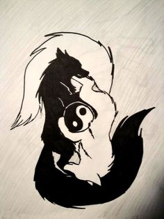 That is fairly cool too - Anime Wolf Yin Yang Wolf, Yin Yang Art, Yin Yang Tattoos, Tribal Wolf Tattoos, Wolf Tattoo Design, Anime Wolf, Cute Drawings, Animal Drawings, Cool Wolf Drawings