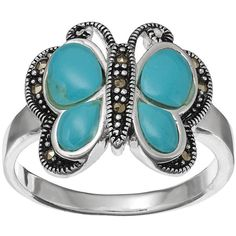 Silver Luxuries Simulated Turquoise Butterfly Ring ($18) ❤ liked on Polyvore featuring jewelry, rings, grey, silver jewellery, turquoise jewelry, turquoise rings, fake jewelry and silver butterfly ring