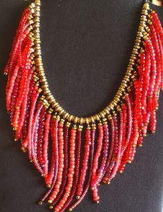 Southwestern style fringed beaded necklace por MontanaTreasuresbyMJ