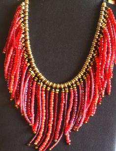 Southwestern style fringed beaded necklace por MontanaTreasuresbyMJ