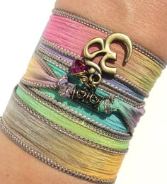Namaste Silk Wrap Bracelet Yoga Jewelry by BohemianEarthDesigns, $27.95