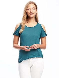 Relaxed Cutout-Shoulder Top for Women