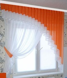 65 Adorable Window Curtains Design Ideas And Decor - Ideaboz Orange Sheer Swags With Rosettes To use curtains or not to use curtains? Choosing curtains is often an overlooked design decision, but it can really make or break a space. Curtains And Draperies, Home Curtains, Curtains Living, Modern Curtains, Valance, Kitchen Curtain Designs, Window Curtain Designs, Curtain Patterns, Curtain Ideas