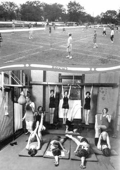 1928 physical training course with badminton and punching bags at the University of Texas at Austin.