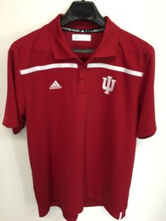 MENS LARGE INDIANA HOOSIERS ADIDAS POLO GOLF SHIRT RED LOOKS NEW #adidas #IndianaHoosiers