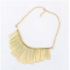 USD4.49European Styles Tassels Embellished Fan Shaped Metal Necklace