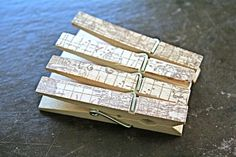 Printed clothespins, 25, vintage atlas print in sepia brown.  Perfect wedding display for photos, seating cards, guest book alternative.