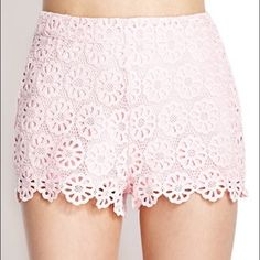 Light pink flower shorts  High waisted comfy shorts! Zipper on the side. Never worn out. Perfect condition 15% off bundles! Forever 21 Shorts