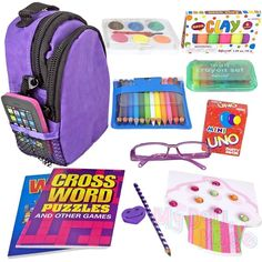 PURPLE Backpack Set School Supplies Accessories fits 18 inch American Girl Dolls #MyDollPlace