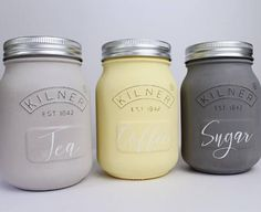Light & Dark Grey and Yellow Kitchen Set of 3 Coffee
