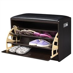 This wooden shoe cabinet not only can be used for storing and organizing your beloved shoes, but can be used as a comfortable ottoman. It's ideal to place in the front entryway. Equipped with 3 racks, the shoe organi Shoe Storage Cabinet Bench, Shoe Storage Mudroom, Wooden Shoe Cabinet, Ikea Shoe Cabinet, Shoe Storage Ottoman, Closet Shelves, Bench With Storage, Ottoman Bench, Cubbies