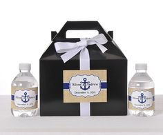 These burlap-print personalized favor box sets are sure to add a unique touch to your nautical themed wedding.