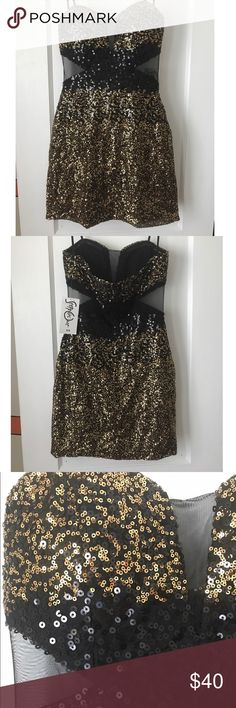 """Sequin Party Dress Gold and black sequined party dress. Strapless style with sheer cutouts on chest and on sides. Boning on chest with a small amount of padding. Zippered back; fully lined. NWT.   """"Straps"""" shown are hanger helpers to hold up the dress.  Measurements: 🔹25"""" top to hem 🔹12.5"""" under chest steppin out Dresses Strapless"""