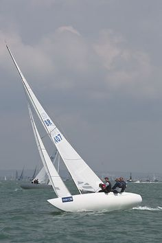 The Etchells class sailboat 'Ice' racing in the Solent during Cowes Week 2013.