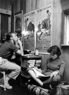 Nick Adams and Natalie Wood studying their lines, 1957. Photo by Ralph Crane.