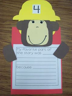 Curious George and the Firefighters- writing activity
