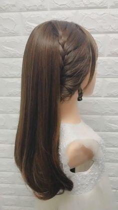Front Hair Styles, Medium Hair Styles, Hair Styles Easy, Hair Braiding Styles, Diy Hairstyles, Wedding Hairstyles, Hairstyle Ideas, Side Braid Hairstyles, Simple Hairstyle Video