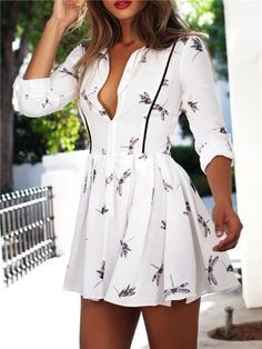 Fashion Women's Deep V-Neck Dragonfly Printed Long Sleeve Slim Dress Mini Dress