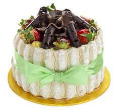Patisserie Valerie - Special Occasion Cakes - Charlotte Gateau - Vanilla and charlotte sponges filled with strawberries, fresh cream and St. Honoré cream.  Suitable for vegetarians. (no recipe)