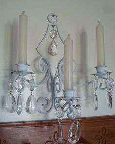 Wall Sconce-Candle Holder-White Metal-Magnetic Hanging Crystals-Chandelier Crystals-Three Arm Sconce-Shabby-French-Romantic-Cottage.. $44.95, via Etsy.